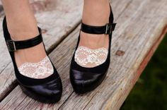 Lace socks, lacey socks for heels and flats white lace and black lace available on Wanelo