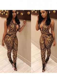 b2050383dd Golden Geometric Sequin See-through Cleavage Halter Neck Backless Club Long  Jumpsuit Sequin Jumpsuit