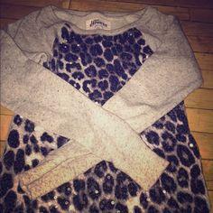 Express sweatshirt Adorable sequined leopard print sweatshirt from Express!! Express Sweaters
