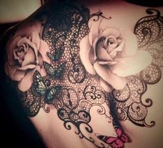 Black Lace, Flower , Butterfly Tattoo on Back