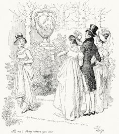 No, no; stay where you are.    Hugh Thomson, from Pride and prejudice, by Jane Austen, London, 1894.