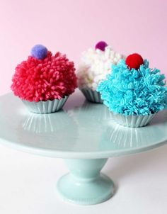If you've got too many pom-poms than you know what to do with, perhaps you can turn them into the cutest summer crafts around. You'll have so much fun making these Mini Pom-Pom Cupcake Magnets that you won't want to stop.