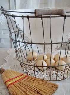 Cabin & Cottage : Ways With Wire Baskets Brooms And Brushes, French Country House, French Cottage, Country Style, Farm House Colors, Farmhouse Style, Farmhouse Ideas, Country Farmhouse, Country Living