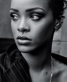 Rihanna wears a nose ring in this picture