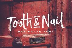 Introducing Tooth & Nail; a rustic & hearty #handpainted dry brush #font, designed to work in both all-caps as well as lowercase. It also includes a bonus #vector pack, featuring 24 elements designed to boost your text and reaffirm it's hand-made style.