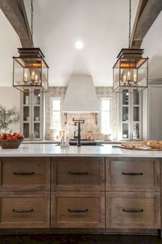 Uplifting Kitchen Remodeling Choosing Your New Kitchen Cabinets Ideas. Delightful Kitchen Remodeling Choosing Your New Kitchen Cabinets Ideas. Rustic Kitchen Island, Farmhouse Kitchen Cabinets, Farmhouse Style Kitchen, Modern Farmhouse Kitchens, Home Decor Kitchen, Home Kitchens, Kitchen Ideas, Rustic Farmhouse, Farmhouse Small