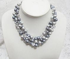Beaded Pearl Necklace Cluster Pearl Necklace by SLDesignsHBJ, $30.00
