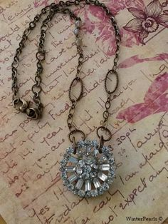 Happy New Years Vintage Signed Weiss Rhinestone Brooch Repurposed Necklace. $75.00, via Etsy.