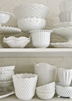 More milk glass. SO elegant. Use my collection all the time.