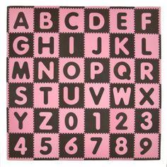 Tadpoles Playmat Set, 36pc, ABC, Pink/Brown
