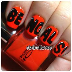Cincinnati Bengals by elaineqxoxo - My boyfriend would absolutely LOVE for my nails to have this design on them!