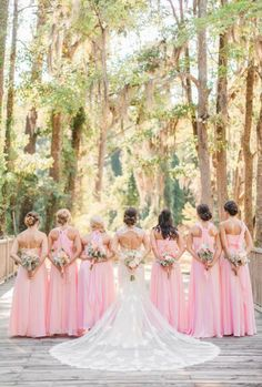 Pretty Pink Bridesmaid Dresses A Dreamy Outdoor Wedding Filled With Pastel Colors Photographer: Jessica Roberts Photography Raspberry Bridesmaid Dresses, Blush Pink Bridesmaid Dresses, Mermaid Bridesmaid Dresses, Blush Pink Weddings, Pink Brides Maid Dresses, Yellow Weddings, Pink Wedding Dresses, Bridal Dresses, Pink Wedding Theme