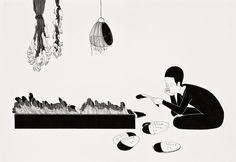 Daehyun Kim aka Moonassi aka 김대현 aka Moonothing aka Moonaa (Korean, b. Seoul, South Korea) - Stacks Of You +details, Drawings: Pigment Liners, Markers on Paper (+details) Daehyun, Henn Kim, Simple Character, Artist Management, Black And White Drawing, Black White, Woodblock Print, Cool Art, Illustration Art