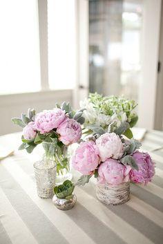 Birch vase, mercury glass votices, sagey greens and pink peonies Fresh Flowers, Beautiful Flowers, Mint Flowers, Our Wedding, Dream Wedding, Wedding Hire, Peonies Centerpiece, Bald Head Island, Deco Floral