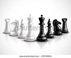 Realistic chess game pieces 3d icons set with reflection vector illustration - stock vector                                                                                                                                                                                 Plus