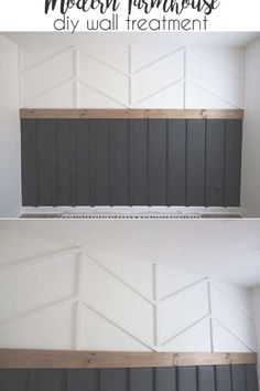 DIY Accent Wall - Board and Batten Herrinbone Wainscotting Combo accentwall walltreatment homedecor Home Renovation, Home Remodeling, Diy Home, Home Decor, Home Design, Interior Design, Interior Ideas, Interior Architecture, Design Ideas