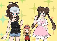 Hilda and Rosa from Unova Region dressed by Serena from Kalos region Pokemon