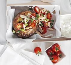 For a low-fat energy lunch try a carbohydrate-heavy baked potato with a light and nutritious filling