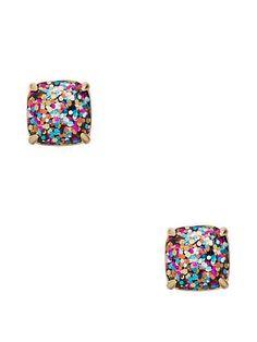 kate spade small square studs, multi glitter