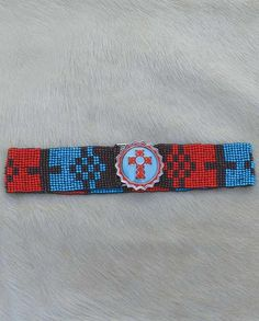 Brown Turquoise and Red Seed Bead Belt with Enameled Cross Buckle