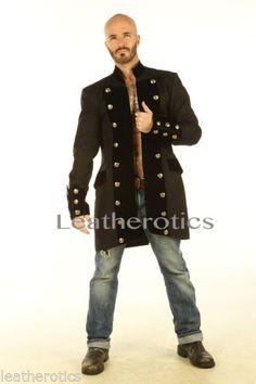 Black Cotton Mens Gothic Steampunk Outfit Vintage Dress Coat Pirate Top SPVL   eBay