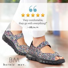 Feel fantastic in super elastic Bernie Mev footwear for women. These casual shoes with roomy, woven elastic uppers combine fun style and extra stretch, so you don't have to give up your love of fashion or comfort. Get a pair to go with every outfit!