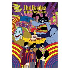 The Beatles Yellow Submarine 3D Poster - You'll feel as though you could climb aboard the Yellow Submarine yourself with this psychedelic The Beatles Yellow Submarine poster. Be amazed with dimensions at 18 x 28.