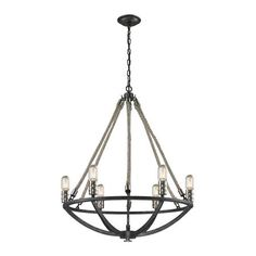 Graphite and Rope 6 Light Chandelier