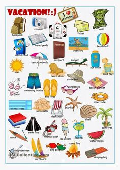 Vacation Picture Dictionary - English ESL Worksheets for distance learning and physical classrooms Learn English Grammar, English Vocabulary Words, Learn English Words, English Language Learning, English Writing, English Study, English Class, Teaching English, German Language