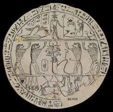 Example of a Hypocephalus, or 'magic circle', which was placed beneath the head of a mummy in the late 1st millennium BC. From the burial of a Theban priestess.