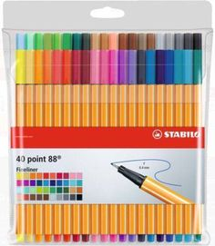 Caneta STABILO Point 88 Estojo c/ 40 Cores Illustration Art Drawing, Art Drawings, Bullet Journal, Cute School Supplies, Office Supplies, Stabilo, Fineliner Pens, Crafts To Do, Markers