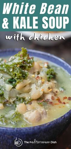 This is the BEST white bean and kale soup I've ever tried! With the added chicken, this is such a satisfying and comforting one-pot meal to feed a crowd! Takes little prep and you can make it on stove-top or crockpot. #beansoup #whitebeansoup #beanandkalesoup #whitebeanandkalesoup #chicken #beanandchickensoup #glutenfreesoup #glutenfreerecipes #healthyrecipes #mediterraneandiet #mediterraneandietrecipes #mediterranean #italian #soup #soup #onepotdinner