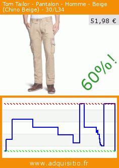 Tom Tailor - Pantalon - Homme - Beige (Chino Beige) - 30/L34 (Vêtements). Réduction de 60%! Prix actuel 51,98 €, l'ancien prix était de 129,95 €. http://www.adquisitio.fr/tom-tailor/pantalon-homme-beige-14