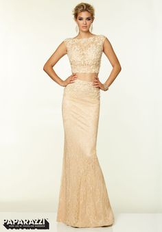 97063 Prom Dresses / Gowns Two Piece Stretch Lace with Beading Cream