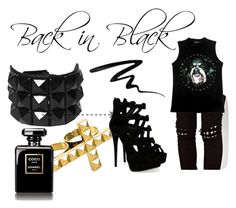 Back in Black by mademoisellezuzia on Polyvore featuring polyvore, fashion, style, Tripp, Giuseppe Zanotti, NLY Accessories, Smashbox, Chanel, clothing and black and gold