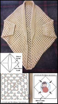 Crochet Shrug Pattern, Crotchet Patterns, Crochet Cardigan, Crochet Shawl, Crochet Stitches, Knitting Patterns, Knit Crochet, Knitted Poncho, Crochet Slippers