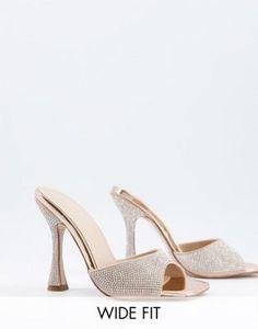 Mules de horma ancha color oro rosa con strass de punta cuadrada Nero de ASOS DESIGN Wide Fit Asos, Rose Gold, Weddings, Sandals, Heels, Design, Fashion, Shoe Tree, Colors