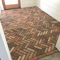 brick flooring Thinking about putting a brick floor in your home Read this post for information about where to buy brick tiles, cost, sealer, and more! Brick Look Tile, Brick Tile Floor, Floor Stain, Brick Pavers, Floor Finishes, Porch Flooring, Brick Flooring, Types Of Flooring, Kitchen Flooring