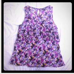 Express Floral Top Floral pattern tank with little ruffles. Only worn once!  Express Tops