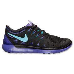(I want these) Women's Nike Free 5.0 2014 Running Shoes | Finish Line | Black/Tribe Green/Purple Venom