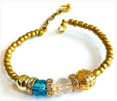 Gold crystal and blue bangle by lushkata on Etsy