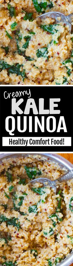 Creamy Kale Quinoa. This is my new favorite dinner, and it's actually healthy and vegan