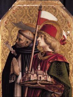 Carlo Crivelli - Santi Pietro martire e Venanzio, dettaglio - pannello Trittico di Camerino (Polittico di San Domenico di Camerino) - 1482-1483 - Pinacoteca di Brera, Milano