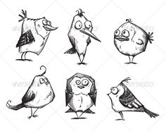 Funny cartoon birds hand drawn vector doodles - by kamenuka on VectorStock® Illustration Mignonne, Funny Illustration, Illustration Sketches, Cartoon Birds, Funny Birds, Cute Birds, Funny Animal Pictures, Funny Animals, Funny Christmas Gifts