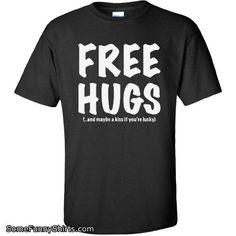 FREE HUGS Short Sleeve T-Shirt in Black - Large