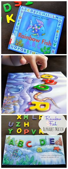 Rainbow Fish A,B,C capital letter alphabet match activity for toddlers and preschool. iheartcraftythings.com