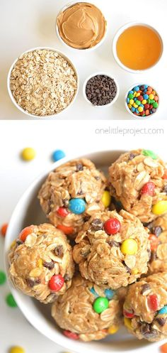 These monster cookie energy balls are soooooo good! They come together in less than 10 minutes and they really help curb your appetite when you have a case of the afternoon munchies! They're reasonably healthy, packed with protein and the kids LOVE them. Baking Recipes, Snack Recipes, Dessert Recipes, Baking Ideas, Easy Snacks, Toddler Snacks, Healthy Snacks, Cooking Cookies, Good Food