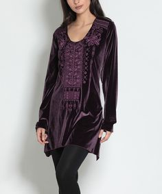 Take a look at this Purple Velvet & Floral Embroidered Sidetail Tunic today!