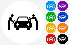 Car Wash Icon On Flat Color Circle Buttons Vector Art Illustration