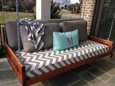 "Mahogany ""mini"" bedswing with fabric design by Carol Lund Interior Design - So Chic! Outdoor Sofa, Outdoor Living, Outdoor Furniture, Outdoor Decor, Outdoor Ideas, Backyard Ideas, Garden Ideas, Pictures Of Porches, Porch Bed"